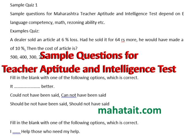 Sample questions for Teacher Aptitude and Intelligence Test